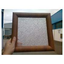 Hublot Carré 300² chêne doré 1 vitre transparente + 1 vitre aléatoire IMEPSA