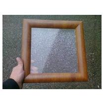 Hublot Carré 300² chêne doré 2 vitres transparentes
