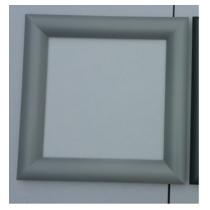 Hublot Carré Gris ALU 300² avec 1 vitre transparente + 1 vitre aléatoire